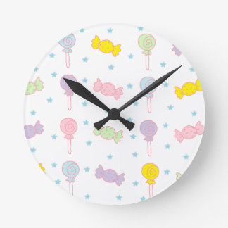 Colorful Candy and Stars Round Clock