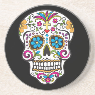 Colorful Candy and Sugar Skull Beverage Coaster