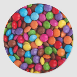 Colorful Candy Coated Chocolates Yum! Classic Round Sticker