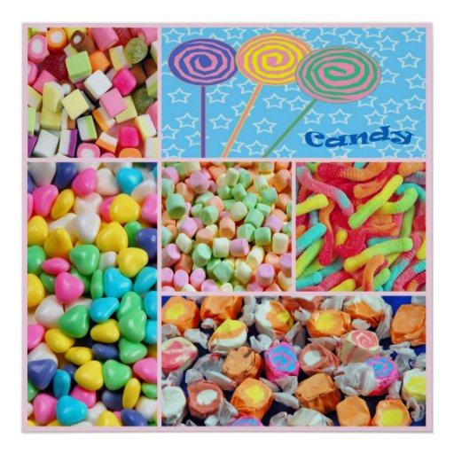 Colorful candy collage poster