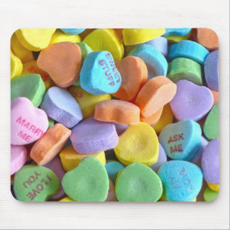 Colorful Candy Hearts Mouse Pad