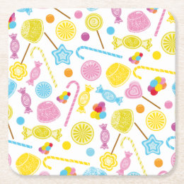 Colorful Candy Lollipop GumDrop Party Supplies Square Paper Coaster