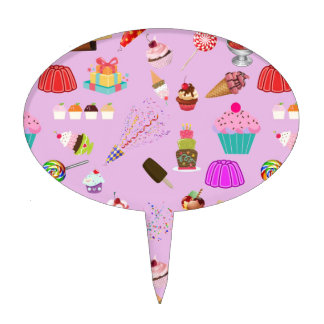Colorful Candy Party Pattern Cake Topper