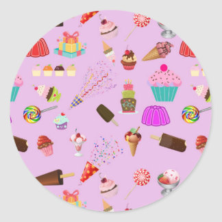 Colorful Candy Party Pattern Classic Round Sticker