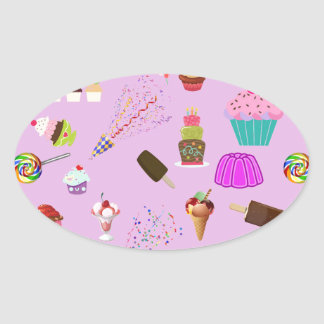 Colorful Candy Party Pattern Oval Sticker
