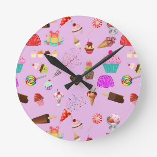 Colorful Candy Party Pattern Round Clock