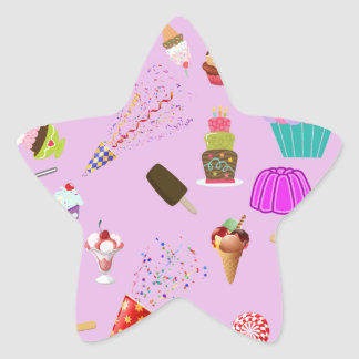 Colorful Candy Party Pattern Star Sticker