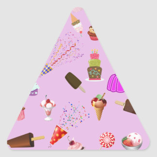 Colorful Candy Party Pattern Triangle Sticker