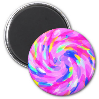 Colorful Candy Pink Swirl Ovals Spiral Pattern Art Magnet