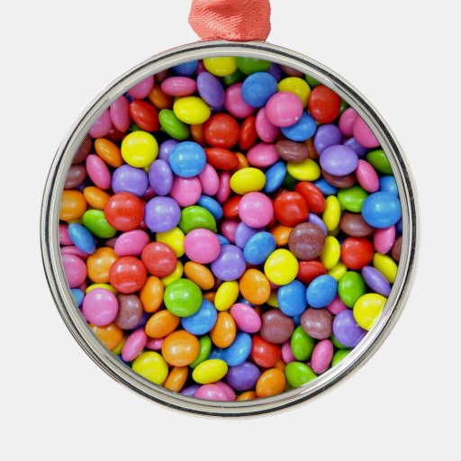 Colorful Candy Round Metal Christmas Ornament
