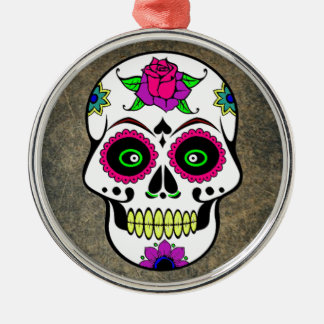 Colorful Candy Skull Round Christmas Ornament