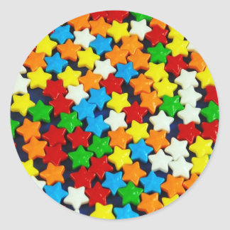 Colorful candy stars pattern classic round sticker
