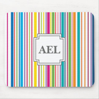 Colorful Candy Stripe - Custom Text Mouse Pad
