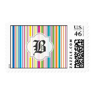 Colorful Candy Stripe - Custom Text Postage Stamps
