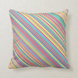 Colorful Candy Stripe Design Throw Pillow