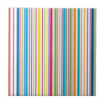 Colorful Candy Stripes Small Square Tile