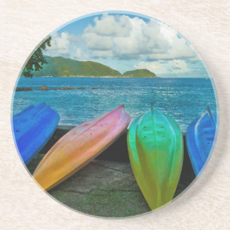 Colorful Canoes On The Beach In Pago Pago Beverage Coaster