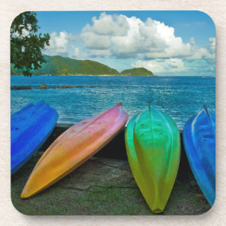 Colorful Canoes On The Beach In Pago Pago Drink Coasters