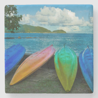 Colorful Canoes On The Beach In Pago Pago Stone Coaster