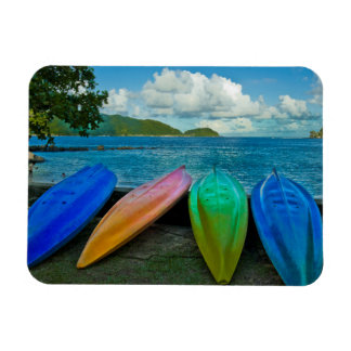 Colorful Canoes On The Beach In Pago Pago Magnet