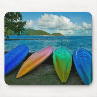 Colorful Canoes On The Beach In Pago Pago Mouse Pad