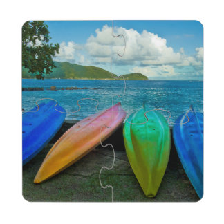 Colorful Canoes On The Beach In Pago Pago Puzzle Coaster