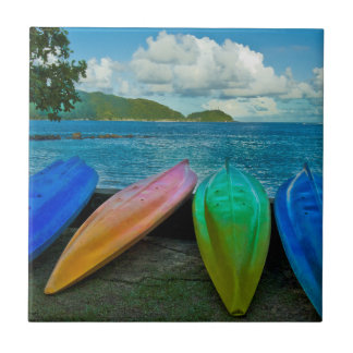 Colorful Canoes On The Beach In Pago Pago Tile