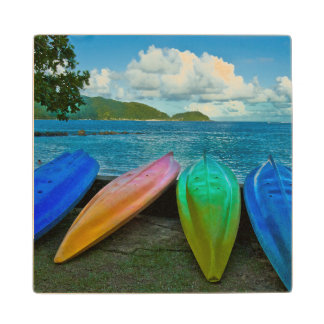 Colorful Canoes On The Beach In Pago Pago Wooden Coaster