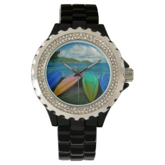 Colorful Canoes On The Beach In Pago Pago Wrist Watch