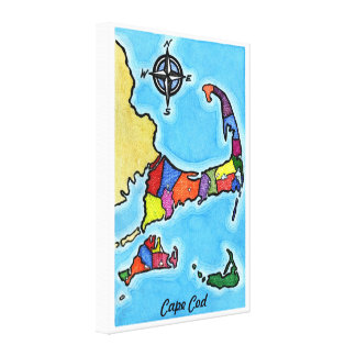 Colorful Cape Cod Map Canvas Print