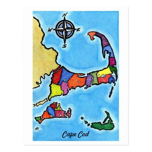 Colorful Cape Cod Map Postcards
