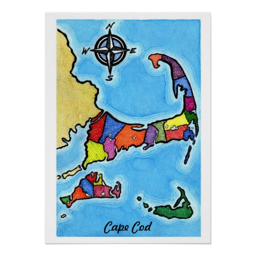 Colorful Cape Cod Map Poster