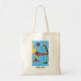 Colorful Cape Cod Map Tote Bag