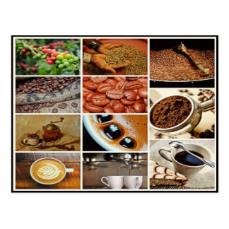 Colorful cappuccino coffee café drink collage postcard
