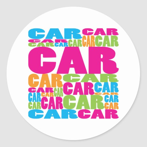 Colorful Car Round Stickers