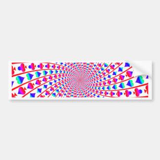 Colorful Card Suits Vortex Bumper Sticker