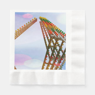 Colorful Carnival Sizzler Ride Lights and Skyline Coined Luncheon Napkin