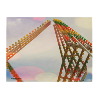 Colorful Carnival Sizzler Ride Lights and Skyline Wood Wall Art