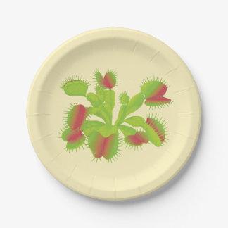 Colorful Carnivorous Venus Flytrap Paper Plate
