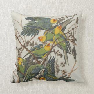 Colorful Carolina Parrots by John James Audubon Throw Pillow