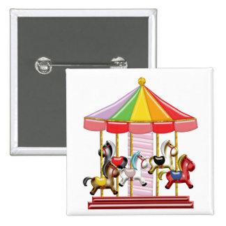 Colorful Carousel 2 Inch Square Button