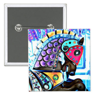 Colorful Carousel Horse 1 Pinback Button