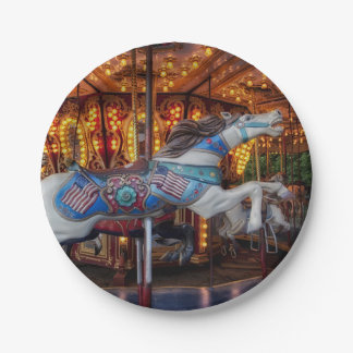 Colorful Carousel Horse and Merry Go Round Paper Plate