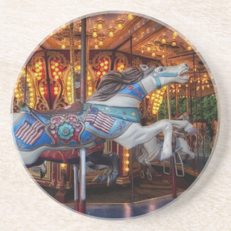 Colorful Carousel Horse and Merry Go Round Sandstone Coaster