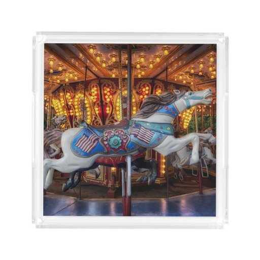 Colorful Carousel Horse And Merry Go Round Square Serving