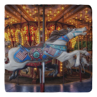 Colorful Carousel Horse and Merry Go Round Trivet