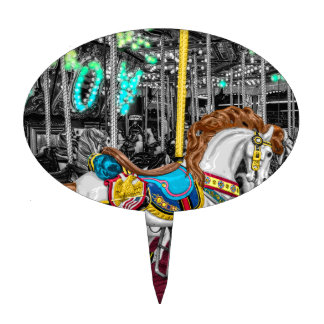 Colorful Carousel Horse at Carnival Cake Toppers