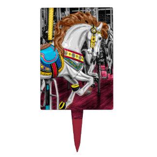 Colorful Carousel Horse at Carnival Cake Picks