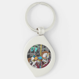 Colorful Carousel Horse at Carnival Keychain