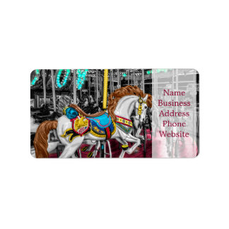Colorful Carousel Horse at Carnival Label